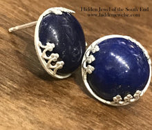 Load image into Gallery viewer, Sterling Silver Hand Forged, Bezel Set, Lapis Post Earrings, lapis earrings