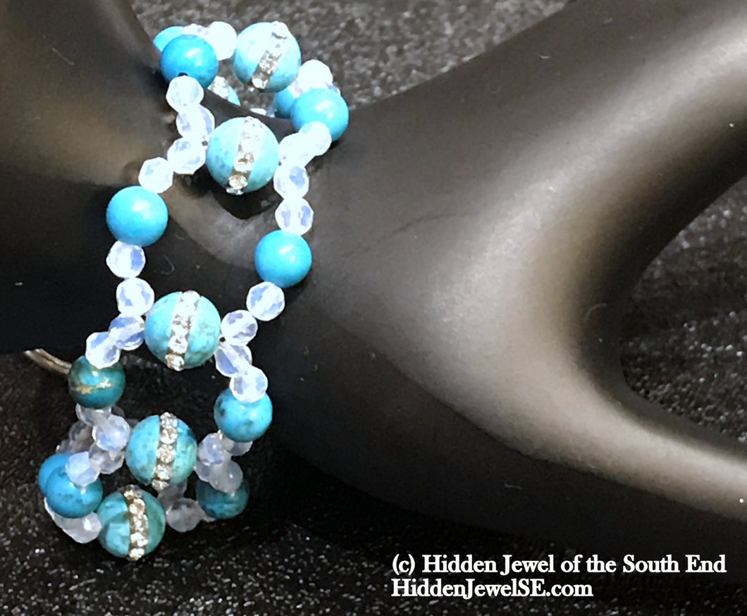 Turquoise and Opalite Cross Weave wide blue and white Bracelet