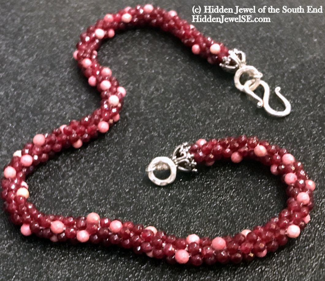 Ruby and Rhodonite crocheted necklace