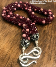 Load image into Gallery viewer, Ruby and Rhodonite crocheted necklace