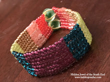 Load image into Gallery viewer, Rainbow herringbone Bracelet, multicolor wrap bangle