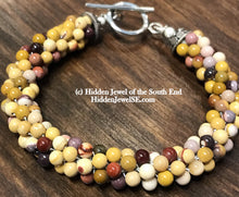 Load image into Gallery viewer, Mookite Jasper Gemstone Crocheted Bracelet, autumn colors, tan, brown, red