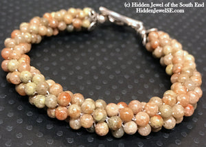 Autumn Jasper Crocheted Bracelet, Tan Bracelet, Light brown bracelet