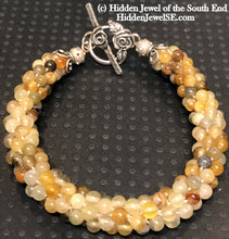 Load image into Gallery viewer, Yellow Agate Natural Gemstone Crocheted Bracelet, Agate beaded bracelet