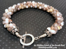Load image into Gallery viewer, Botswana Agate Crocheted Bracelet  brown and white stone