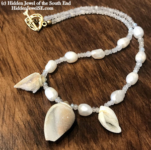 Druzzy Quartz Fossilized Shell Necklace, Moonstone, Freshwater Pearl