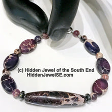 Load image into Gallery viewer, Purple imperial jasper gemstone single strand purple bracelet with snap closure size 6''