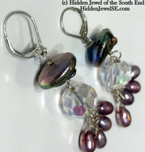 Load image into Gallery viewer, Antique Crystal and Freshwater pearl sterling silver drop earrings