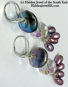Antique Crystal and Freshwater pearl sterling silver drop earrings