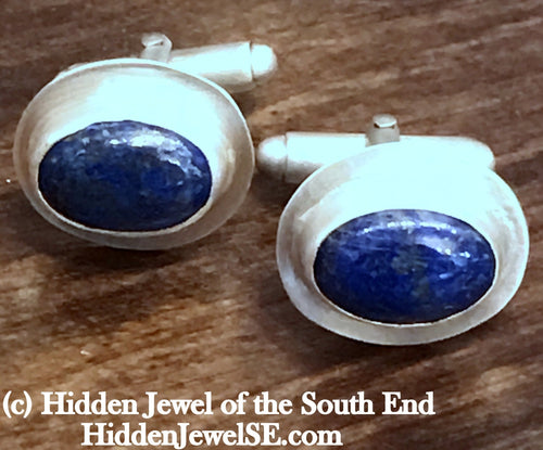 Blue Lapis Cuff Links - Lapis Lazuli Mens Cufflinks