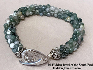 Green Moss Agate Crochet Bracelet, Sterling Silver hammered toggle