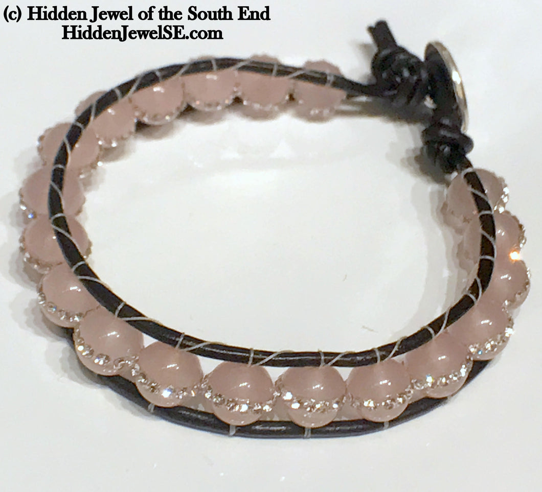 Rose Quartz with Pave Crystal Leather Wrap Bracelet, Gemstone Bracelet