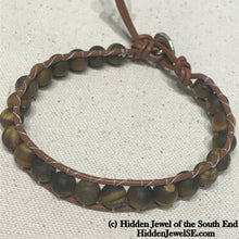 Load image into Gallery viewer, Matte Tiger Eye leather wrap single Leather Wrap bangle