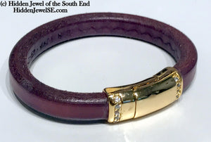 Genuine Purple Leather stack-able Bangle with gold colored magnetic clasp