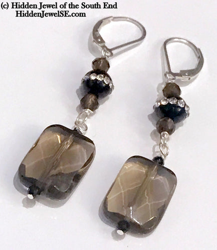 Smokey Quartz and Onyx gemstone Earrings, with pave crystal onyx rounds