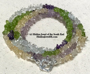 Citrine, Peridot, Amethyst and Quartz Necklace