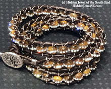 Load image into Gallery viewer, Tiger Eye leather wrap with Swarovski crystals, triple Leather Wrap bangle