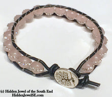 Load image into Gallery viewer, Rose Quartz with Pave Crystal Leather Wrap Bracelet, Gemstone Bracelet