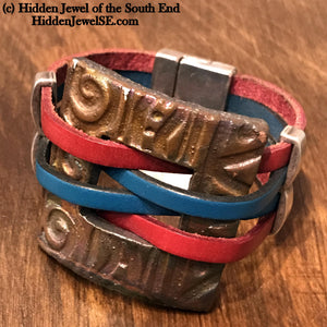 Blue and Red Bangle with Brown Ceramic focal square piece and magnetic silver clasp (WR22)