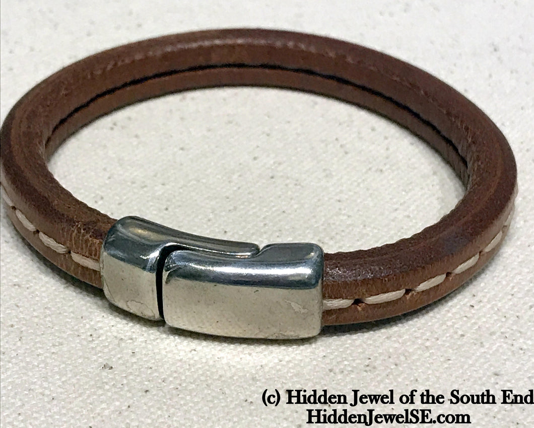 Unisex brown stitched Leather bangle Bracelet with magnetic clasp  stiff leather