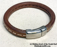 Load image into Gallery viewer, Unisex brown stitched Leather bangle Bracelet with magnetic clasp  stiff leather