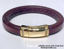 Load image into Gallery viewer, Genuine Purple Leather stack-able Bangle with gold colored magnetic clasp