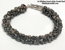 Load image into Gallery viewer, Black, grey and Pink Jasper Crocheted Bracelet, sterling silver clasp