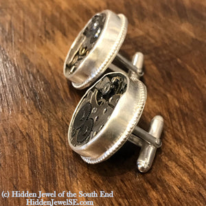Circle Watch component Sterling Silver Cuff links