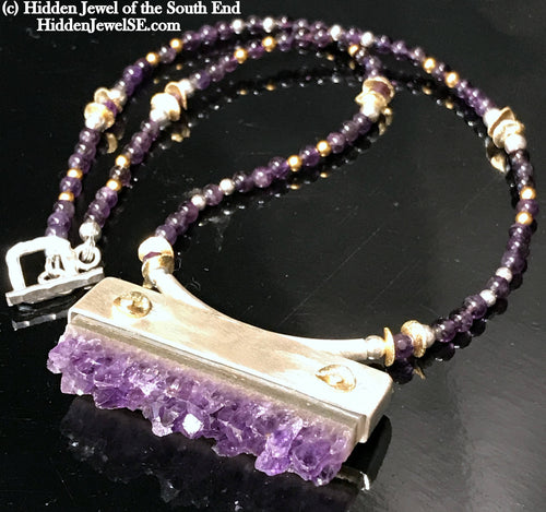Amethyst Slab Gemstone Necklace with hand forged Sterling setting