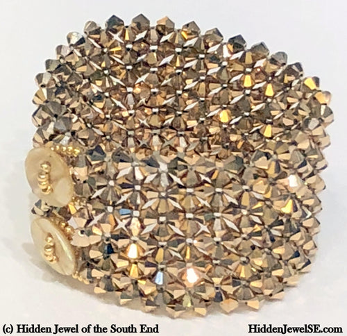 Swarovski Crystal wide Cuff Bracelet, Gold Colored Crystal cuff