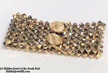 Load image into Gallery viewer, Swarovski Crystal wide Cuff Bracelet, Gold Colored Crystal cuff