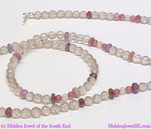Cape Amethyst Necklace, Faceted Gemstone necklace, with genuine ruby