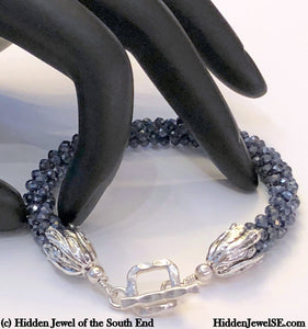 Sri Lankan faceted Blue Sapphire crocheted bracelet, gemstone bracelet, crocheted bracelet