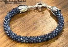 Load image into Gallery viewer, Sri Lankan faceted Blue Sapphire crocheted bracelet, gemstone bracelet, crocheted bracelet