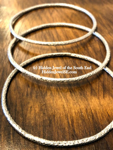 Textured 3mm Sterling Silver Bangles, Set of 3 heavy Gauge