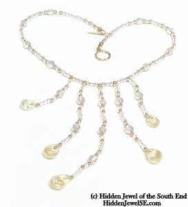 Quartz with Gold flakes and gold filled gemstone necklace, 16.5""