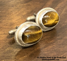 Load image into Gallery viewer, Tiger Eye Cuff Links Jasper Cufflinks Brown Cufflinks - Sterling Silver - Wedding Cufflinks)