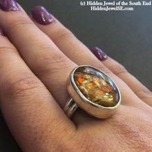 Load image into Gallery viewer, Custom Made prehistoric Ammolite Ring,  Sterling Silver