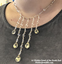 Load image into Gallery viewer, Quartz with Gold flakes and gold filled gemstone necklace, 16.5""