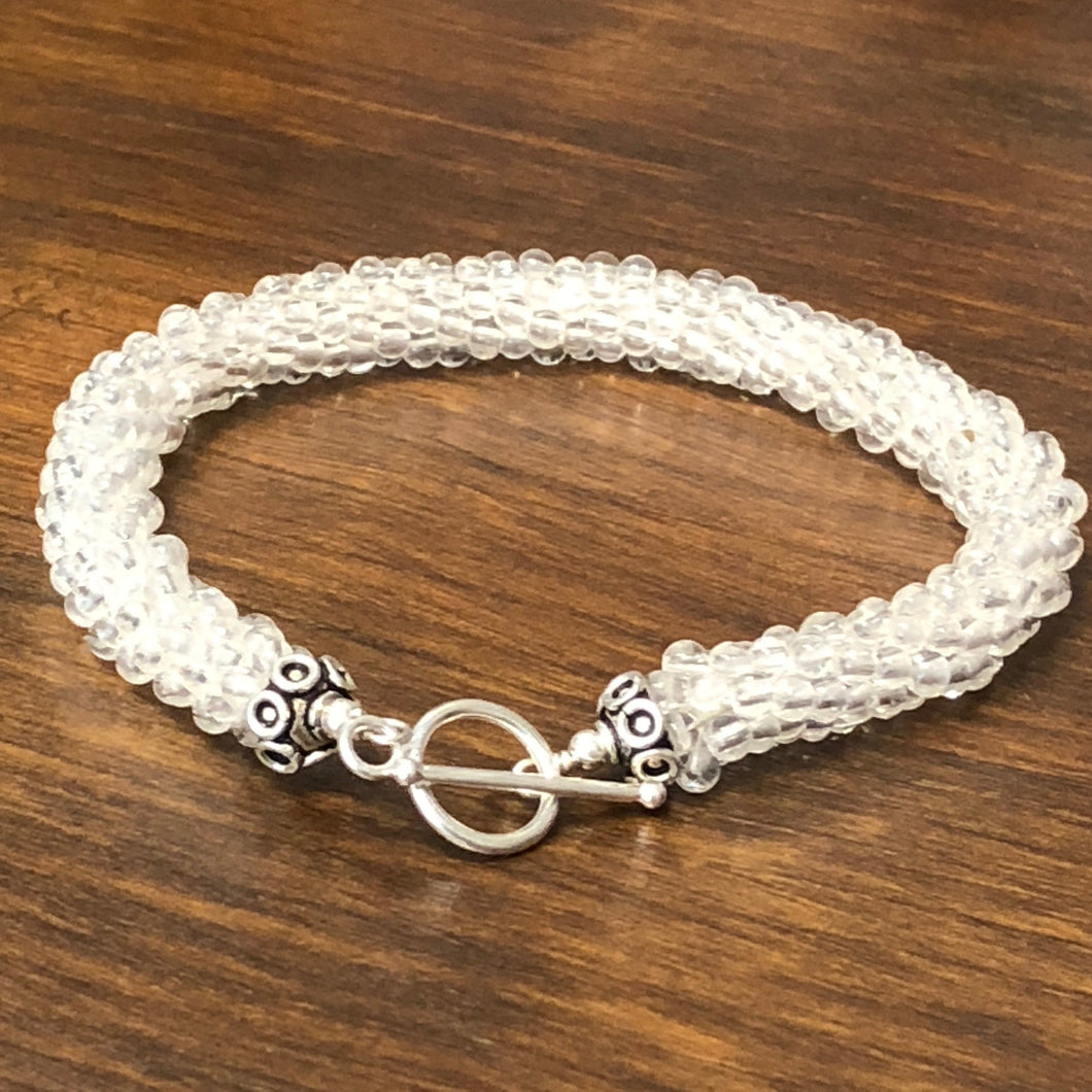 Large sized Rock crystal Quartz crocheted bracelet, stack-able bracelet