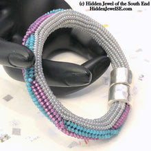 Load image into Gallery viewer, Twist Bangle Blue, pink, white, Bracelet, with stainless steel magnetic clasp