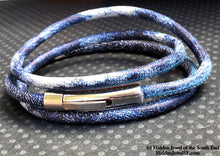 Load image into Gallery viewer, Unisex blue denim wrapped Leather round bangle size 7