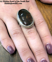 Load image into Gallery viewer, Ammolite Sterling Silver bezel set split shank ring, Ammonite ring