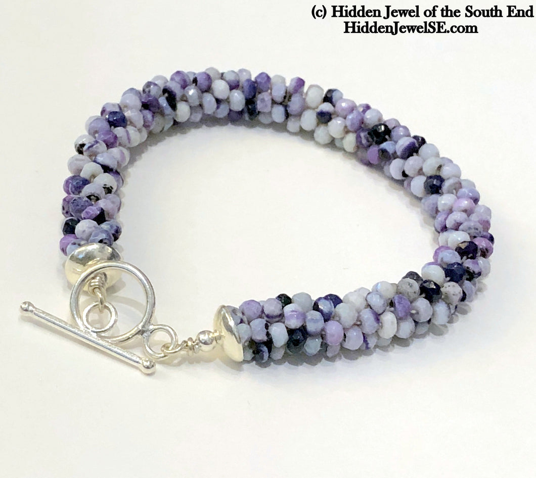 Tiffany Stone Crocheted purple bracelet, purple crochet