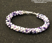 Load image into Gallery viewer, Tiffany Stone Crocheted purple bracelet, purple crochet