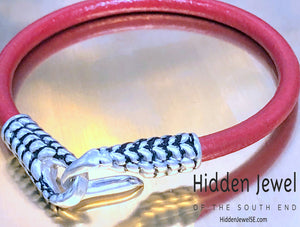 Unisex red Leather bangle Bracelet with silver hook clasp , stiff leather