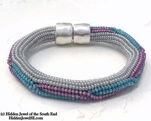 Twist Bangle Blue, pink, white, Bracelet, with stainless steel magnetic clasp