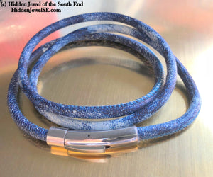 Unisex blue denim wrapped Leather round bangle size 7