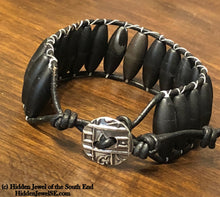 Load image into Gallery viewer, Black Onyx Leather wrap, black bangle stack-able bracelet, button clasp