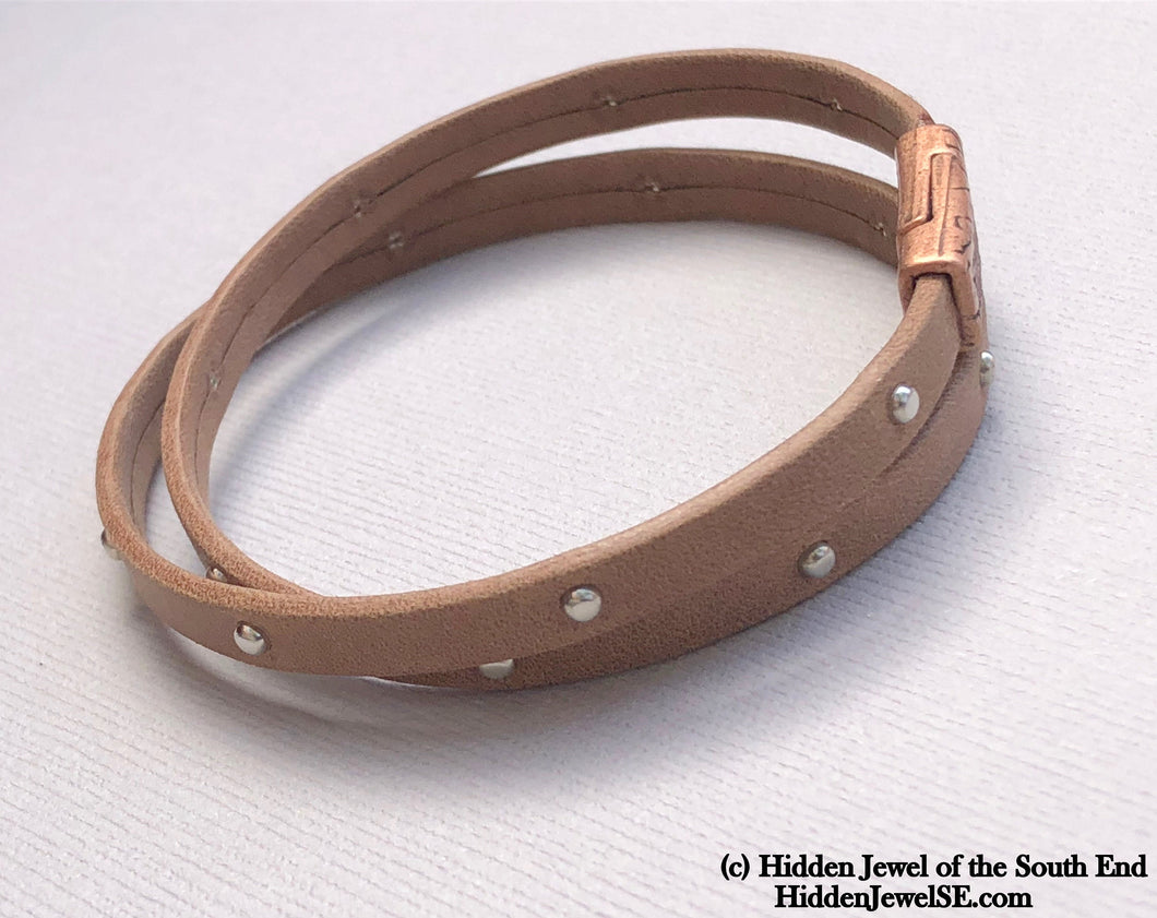 Unisex brown Leather bangle twice around Bracelet magnetic clasp